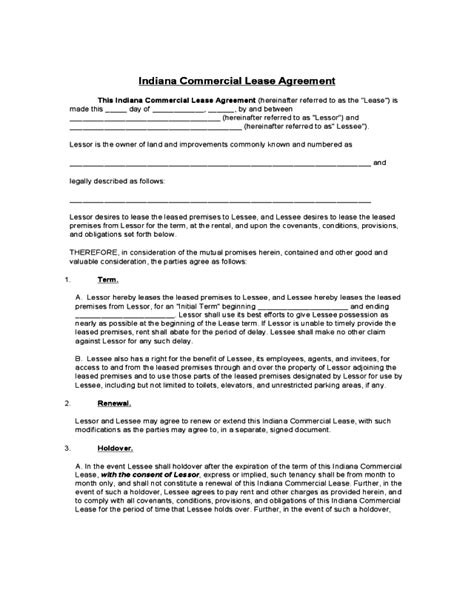 printable lease agreement indiana indiana commercial lease agreement template edit fill
