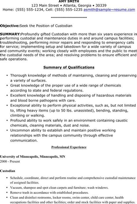 resume custodian 28 images resume sles custodian