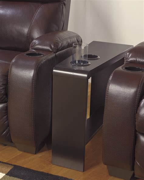 end table with cup holder chair side end table with 2 cup holders powerstrip usb