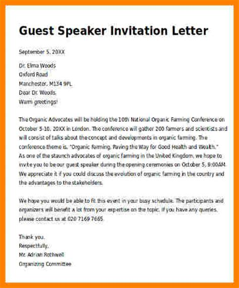 Letter Of Agreement Speaker Sle Invitation Letter For A Guest Speaker Futureclim Info