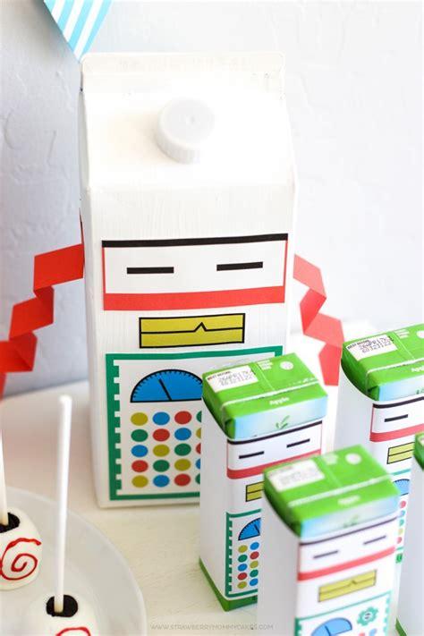 15 minute milk robot craft strawberry mommycakes