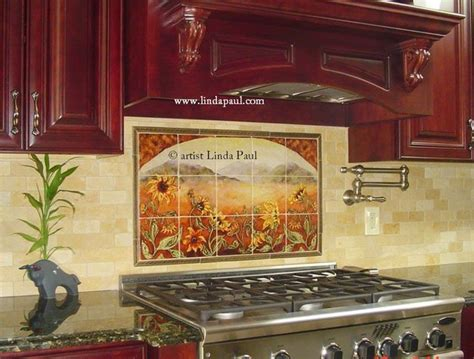 kitchen tile backsplash murals sunflower kitchen backsplash tile mural contemporary tile murals other metro by linda paul