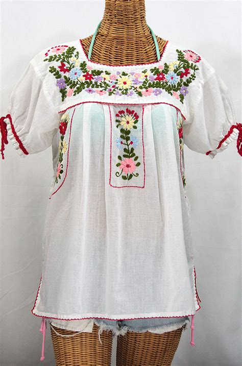 Tdn2kzs White Tops Big Size Blouse Baju Besar Atasan Putih Polos mexican embroidered peasant blouse mexican blouse