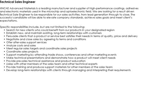 Technical Sales Engineer Cover Letter by Technical Sales Engineer