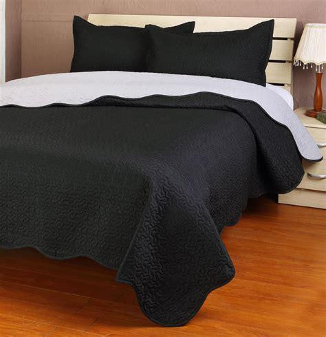 Black Bedspread Black Gray Reversible Bedspread Quilt Set Ebay