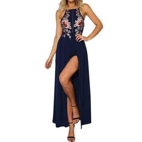 Flower Slit Dress womens embroidery flower romper dress high slit maxi