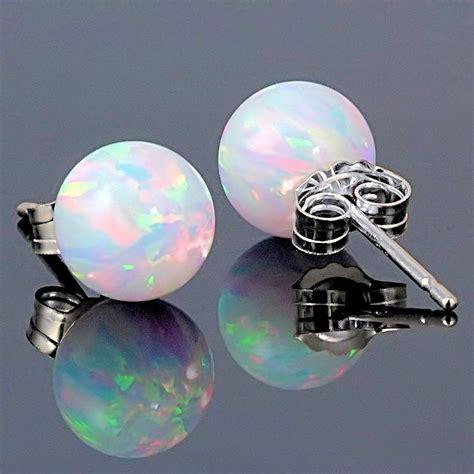 8mm australian fiery white opal stud post earrings