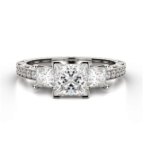 three princess ring with sidestones monty