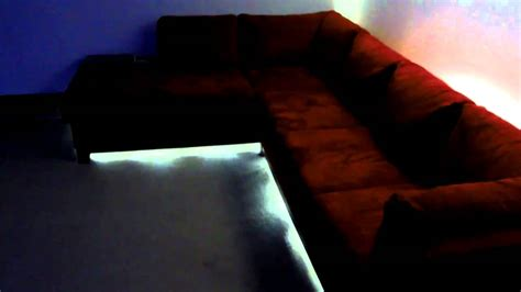 under sofa lighting soho red led lighting on sectional couch youtube