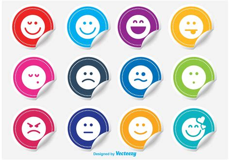 Emoticon Sticker emoticon sticker vector set free vector