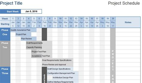 excel project calendar template business project schedule