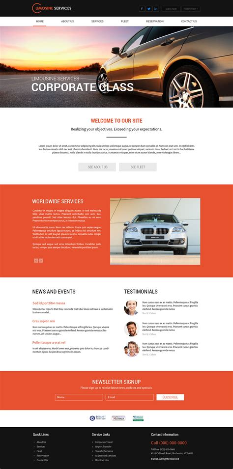 Limousine Website by Limo Website Templates Pricing Information