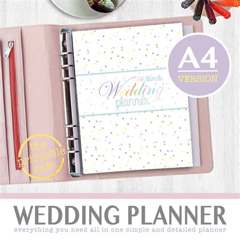 printable wedding notebook organizer ultimate printable wedding planner organizer a4 size instant