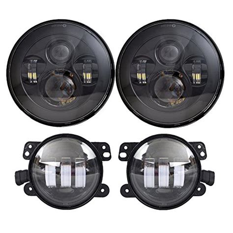 led headlights and fog lights dot approved 7 quot black daymaker led headlights 4 quot cree