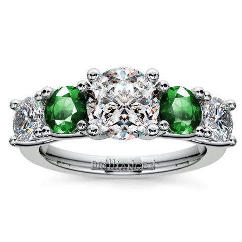 trellis emerald and gemstone engagement ring in