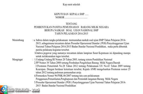 format berita acara musrenbang format administrasi pemusnahan dokumen un 2015 berisi sk