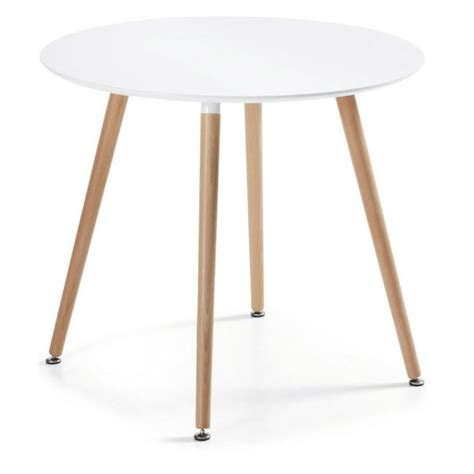 Wooden Table L Doze R Fixed Table Diam 100 Cm White Lacquered Wooden Table Study Or Kitchen And Living