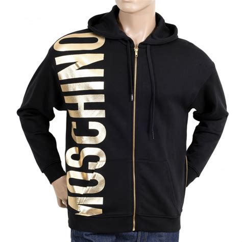 Hoodie Sweater Hatchet Black Front Logo Hooded Sweatshirts For In Black By Moschino
