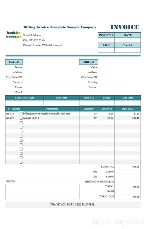 Free Invoice Templates For Excel Billing Invoice Template
