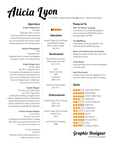 Resume Graphic Designer Format Graphic Design Resume Sles Sle Resumes