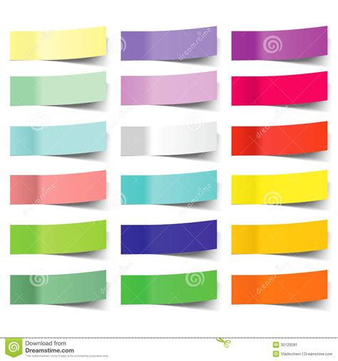 Post It Note Memo Sticky Stick Notes Pastel Rainbow Color collection of colorful vector sticky notes stock vector