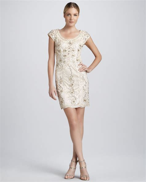chagne beaded cocktail dress sue wong scooped neck beaded cocktail dress in gold