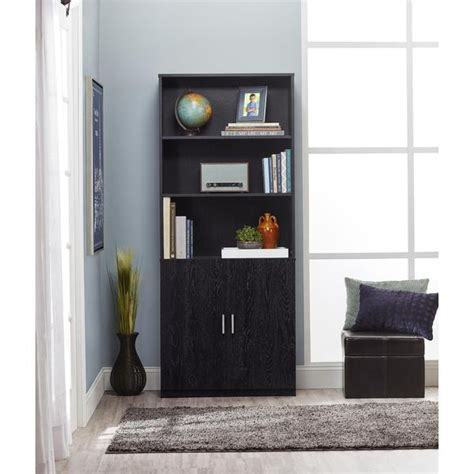 ameriwood 3 shelf bookcase with doors ameriwood home moberly black ash bookcase with doors
