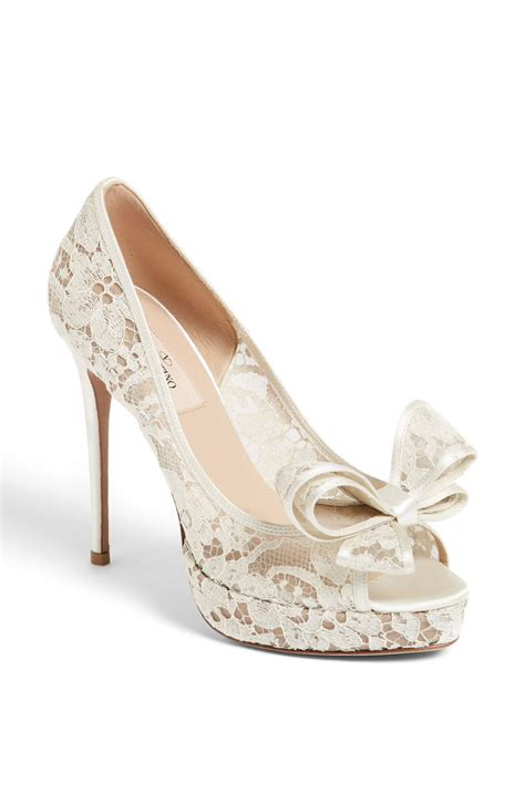 couture shoes valentino lace couture bow open toe in white ivory