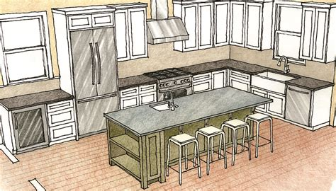 Kitchen Design Drawings Multipurpose Kitchen Islands Homebuilding