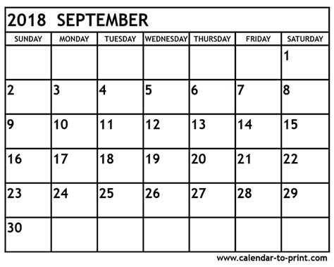 Kalender 2018 One Stop September 2018 Calendar Printable