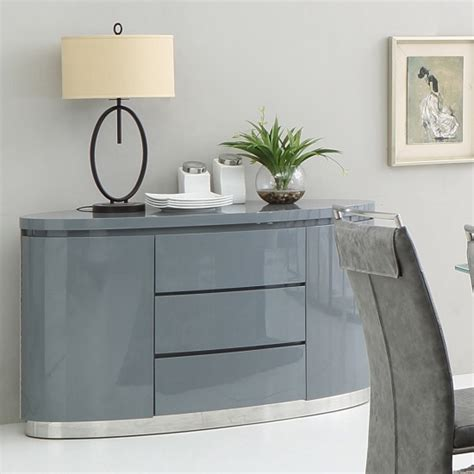 Dining Room Furniture Buffet by Cruise Modern Sideboard In Grey High Gloss With 3 Drawers