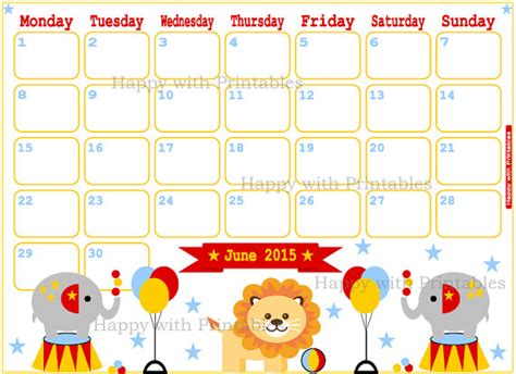 printable day planner june 2015 items similar to calendar june 2015 printable cute