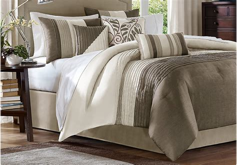 brenna 7 pc king comforter set king linens beige