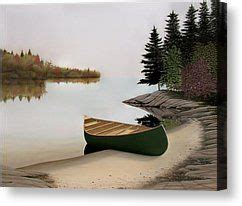 paddle boat for sale muskoka beached canoe in muskoka painting by kenneth m kirsch