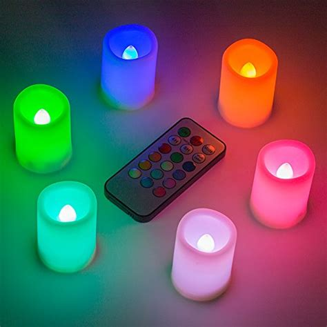 Color Changing Led Candle With Remote Set Of 3 Pcs kohree set of 6 flameless led color changing votive