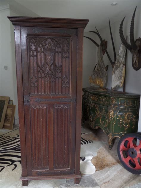 Church Cabinet by 19th Century Carved Oak Church Cabinet Tracery