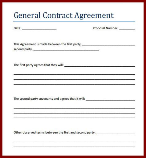 business contract rental contract template business