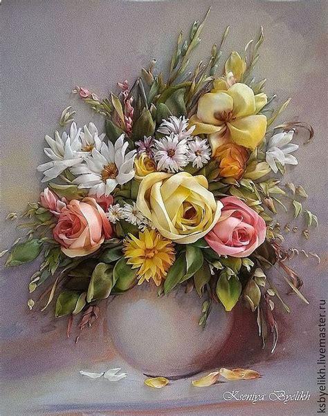 Buket Bunga Mawar Satin Vintage Pink 79521251121 Kartiny Panno Buket V Vaze N4115 Ribbonwork 2 Flower Silk