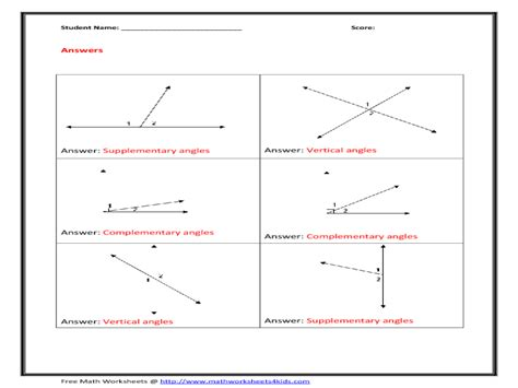 Complementary Supplementary Angles Worksheet by Complementary Supplementary Vertical Angles Worksheet Free