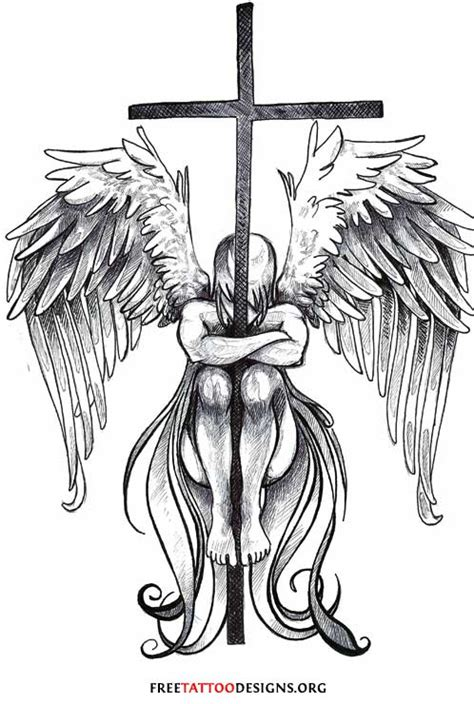 cross angel tattoo tattoos wings guardian and st michael