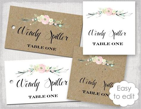 diy place cards templates rustic name card template quot rustic flowers quot blush pink