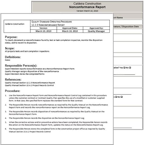 Quality Procedure Template standard operating procedure exle