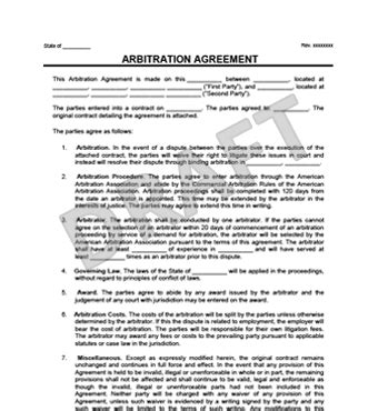 employment arbitration agreement arbitration agreement form create a free arbitration