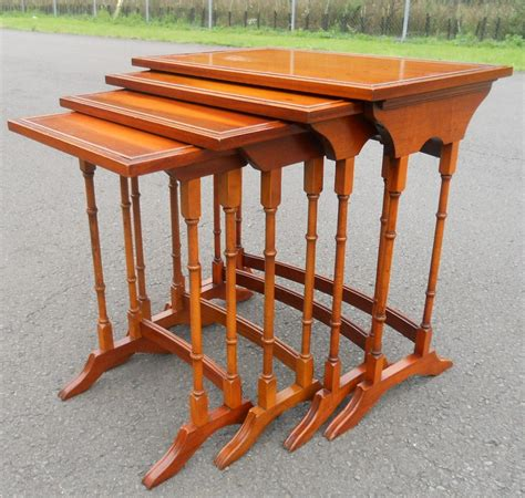 Nest Of Four Yew Wood Coffee Tables By Bradley Yew Coffee Tables