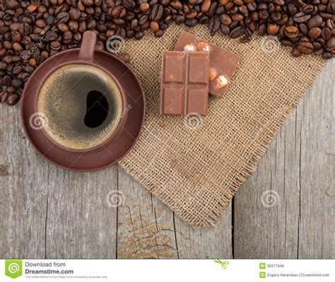 coffee cup  chocolate  wooden table stock photo