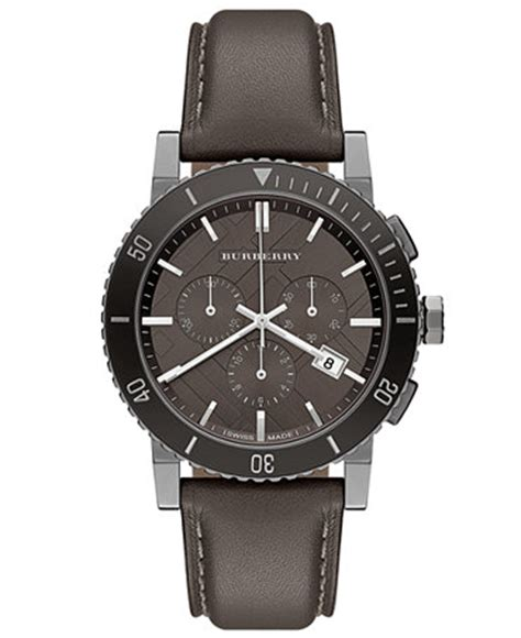 burberry s swiss chronograph gray leather