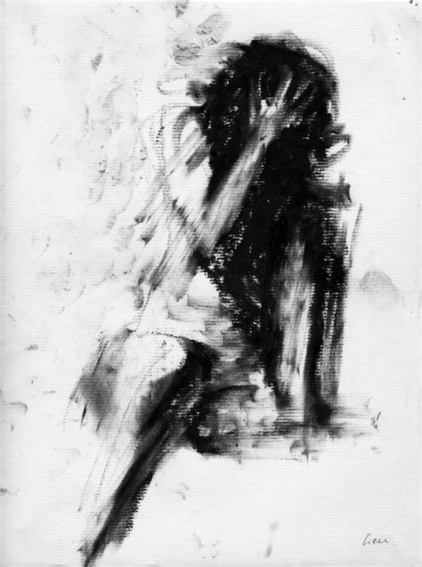 Haunting Figure Drawing Moody Dark Fine Art Crayon Figure Painting Sketches For