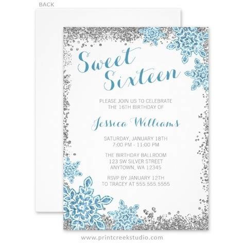Free Template Invitation Card Snowflakes by 233 Best Winter Sweet 16 Ideas Images On