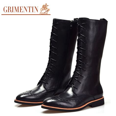 mens knee high boots shoes grimentin brand 2016 fashion mens knee high boots genuine