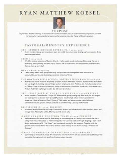Ministry Resume by Koesel Design Ministry Resume
